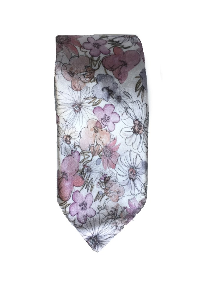Watercolor Flower Silk Tie