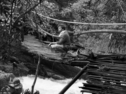 The long and unstable bridge leading to the jungle camp where I rested for a couple of days in rainforests along the Northern Western Ghats, India.