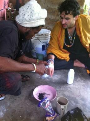 James Dee Clayton getting African tribal tattoo