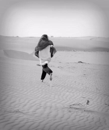 running barefoot in the desert