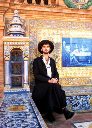 A self-portrait amongst the colourful mosaics of Seville's Plaza de Espana.