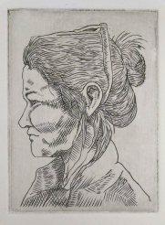 Student: Elizabeth Ash, Self portrait, Metal Engraving, 4 x 3