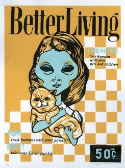 Student - Thuong Tran, Theme: Aliens and 50's Advertising, Screenprint,