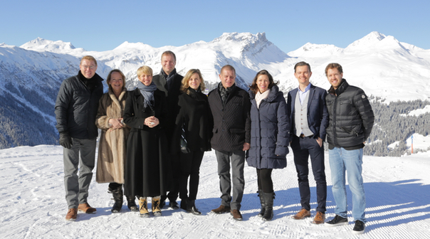 James Hewitt, the Hintsa team and guests at the World Economic Forum Annual Gathering, Davos.