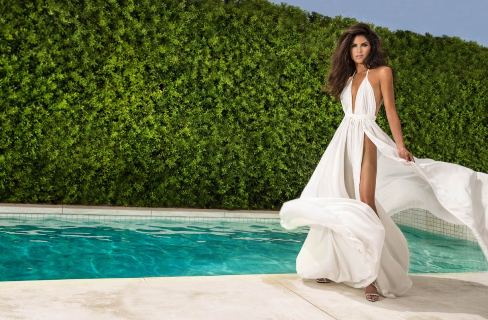 Palm Springs poolside glamour day shot with model Alicia Ruelas. Makeup: Scott Barnes. Hair: Frank Galasso. Photo by James Hickey.