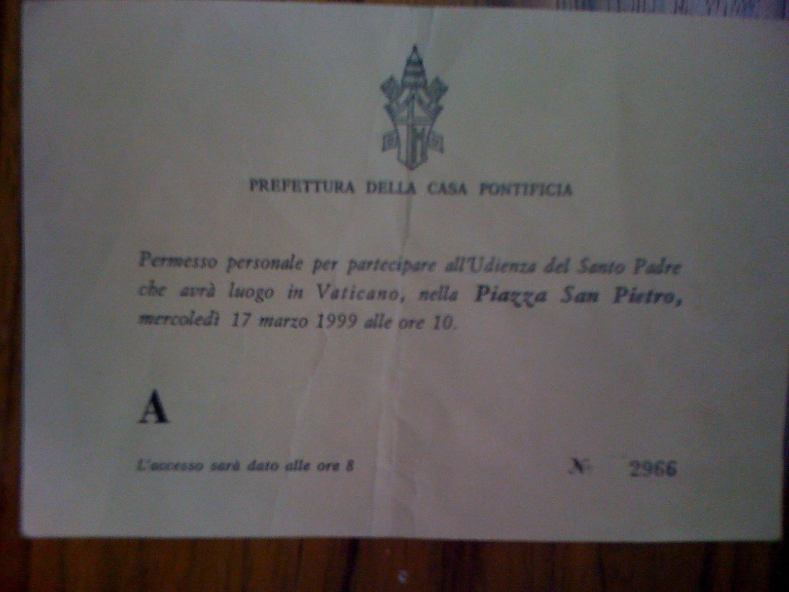 refettura Della Casa Pontificia (pass to see the pope on St. Patrick's Day