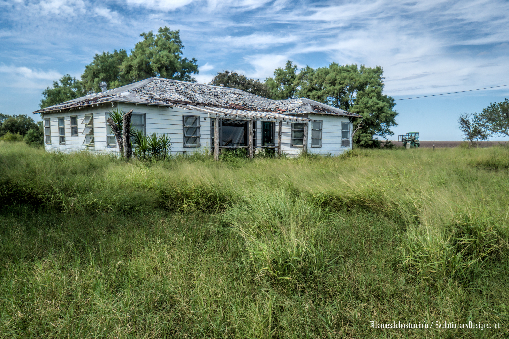 Abandoned Farm House and Ford Econoline Motor north of Corpus Christi