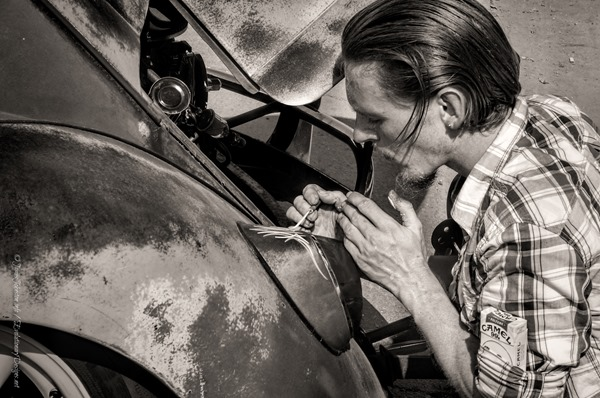 Day 4 of the 5 Day Black and White Photo Challenge: Pinstriping at the Invasion Car Show 2013