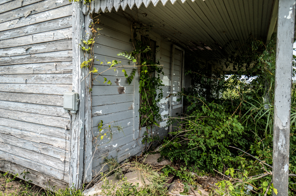 Abandoned Farm House West of Ector, Texas - Overgrown front porch
