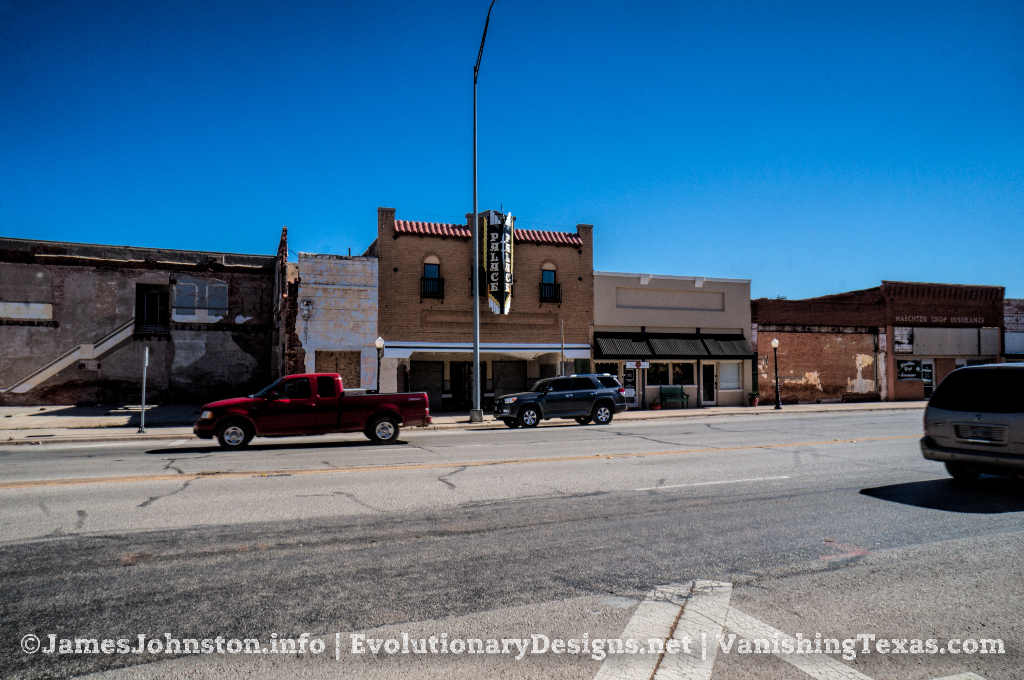 The Abandoned Palace Theater in Anson, Texas - The View from Across the Street During Lunch Time Traffic