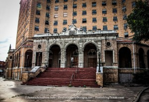 Front Entry - The Abandoned Baker Hotel in Mineral Wells, Texas