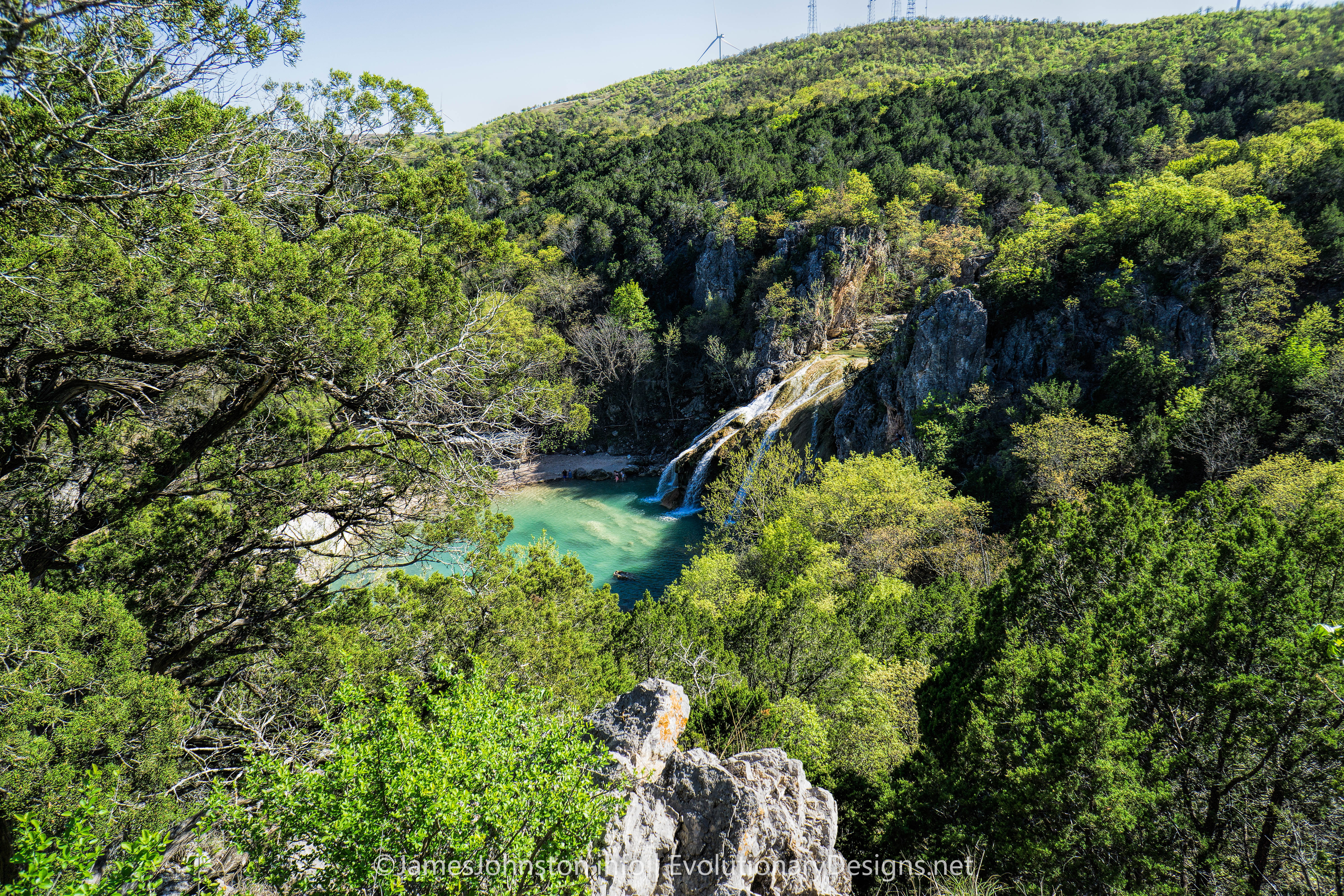 Turner Falls Park in Davis, Oklahoma - The falls from above