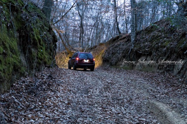 Road to Widow's Creek Bridge in Claiborne County, Mississippi in our 2011 Subaru Forester
