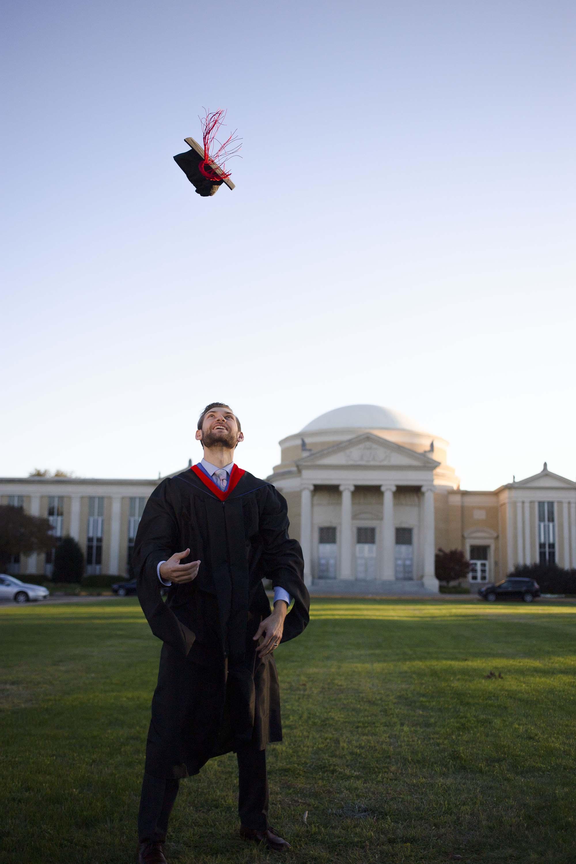 graduate tossing cap