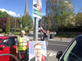 Removing posters in Kill for the Tidy Towns