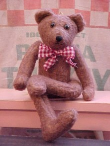 George- Primitive Styled Vintage Plush Felt Wall-hanging Bear with Thread Jointing and Bendable Knees