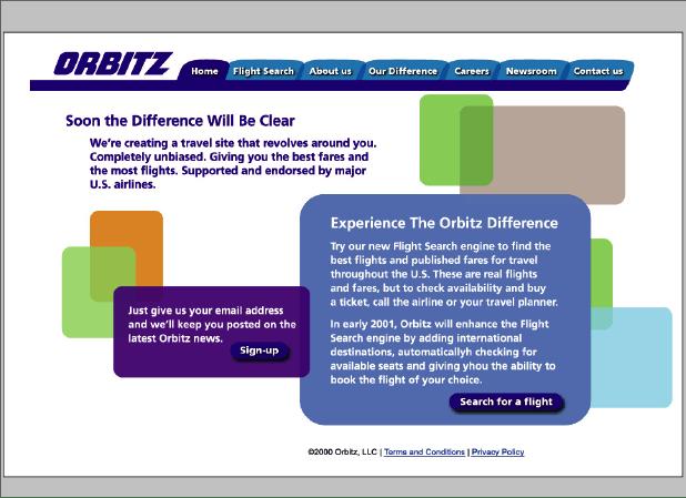 Orbitz prelaunch website