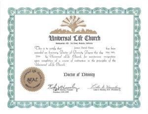 ULC Doctor of Divinity Certificate