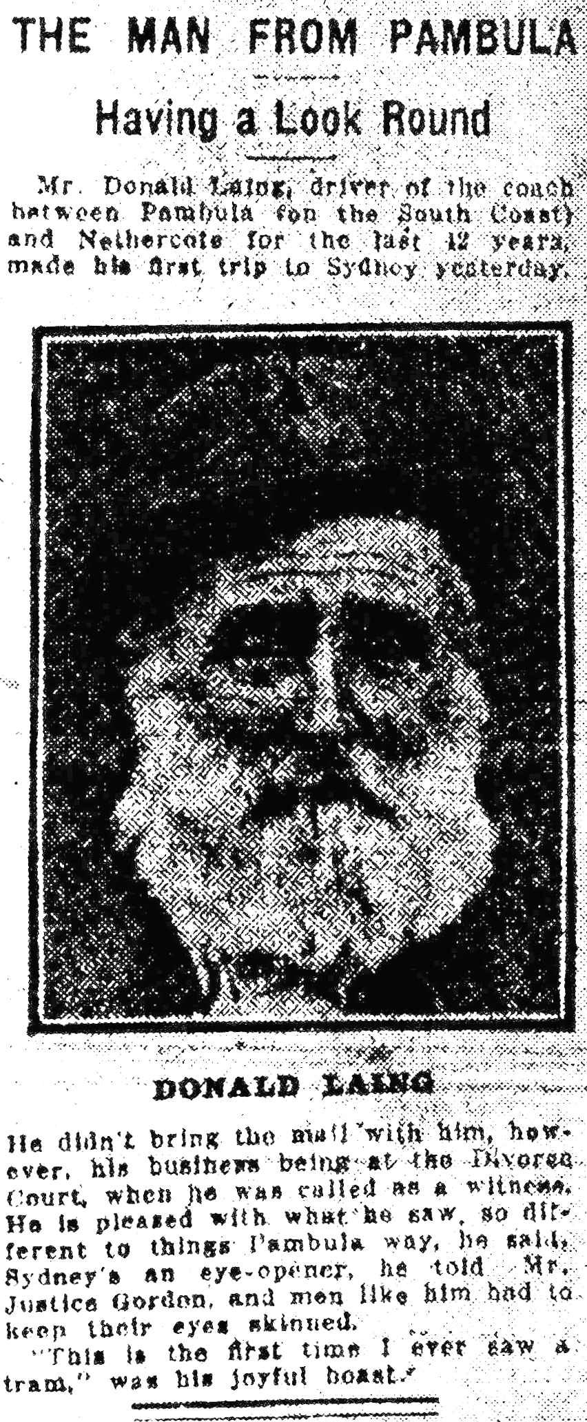 Donald Laing as featured in The Evening News, June 1921