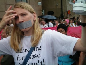 A favourite from Stockholm Pride in 2008 - marching for those who cant