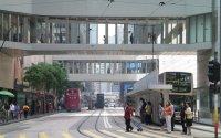 Pedestrian walkways in Hong Kong.