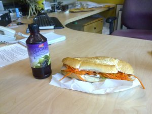Pork roll and fruit juice for lunch
