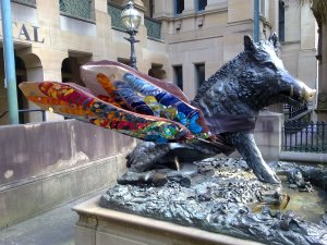 Pigs might fly. Il Porcellino, the wild boar sculpture outside Sydney Hospital.