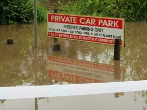 Carpark under water at the Wilsons River in Lismore