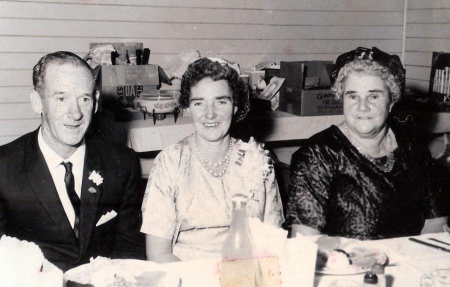 Dad, mum and granny at a family wedding