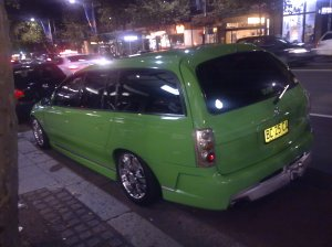 Awful green car on Oxford Street