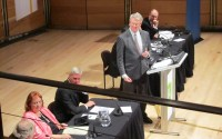 Simon Longstaff chairs the Wikileaks debate at Angel Place, Sydney