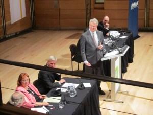Simon Longstaff chairs the Wikileaks debate at Angel Place, Sydney