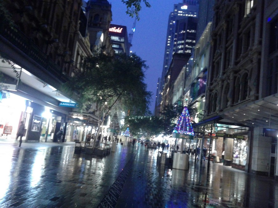 Sydney's Pitt Street Mall on a wet night