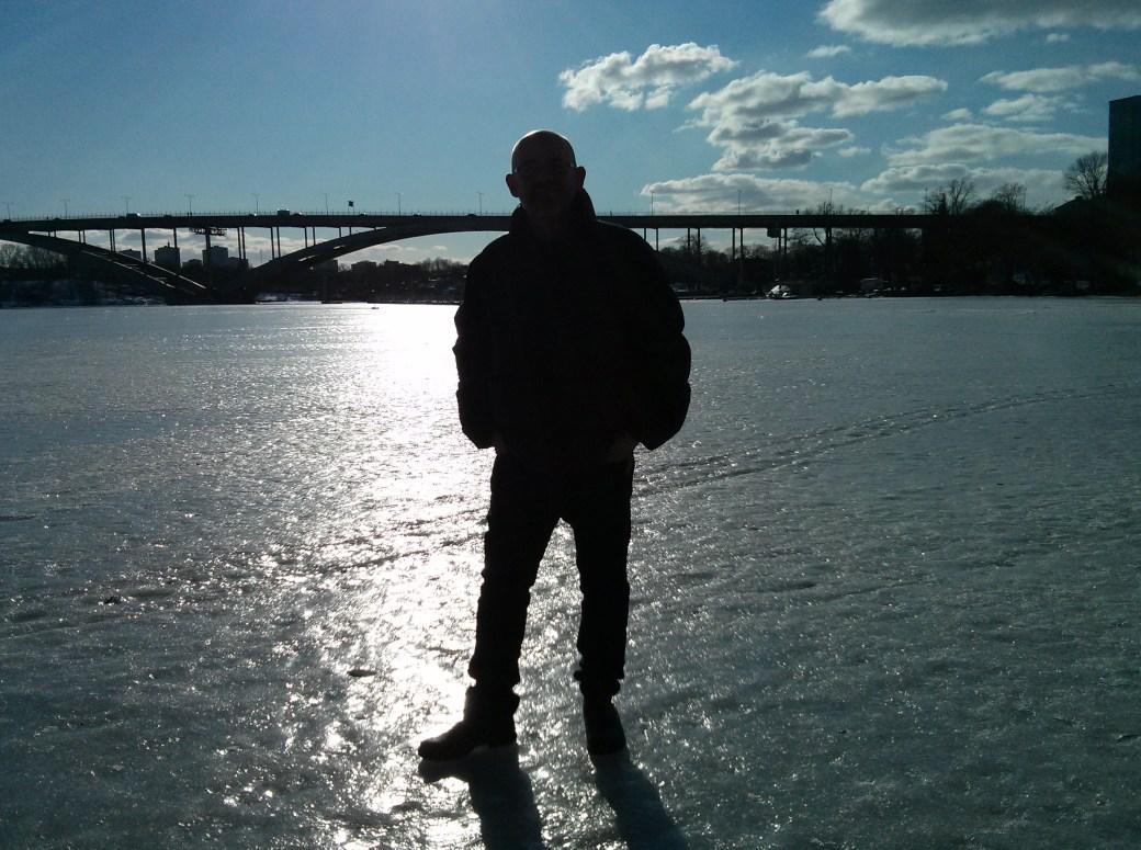 Walking on the frozen water of Lake Mälaren, Stockholm