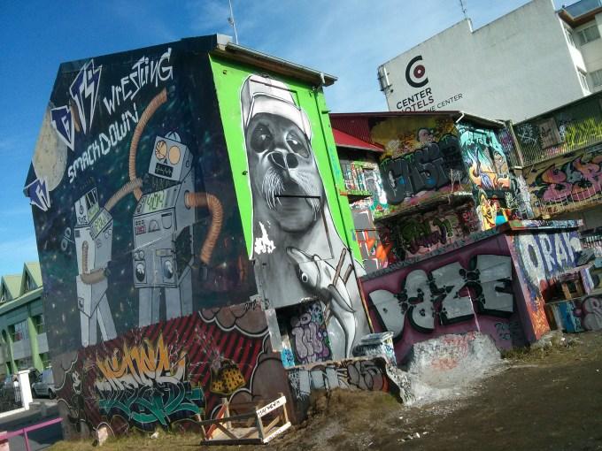 Inner city graffiti, housing, artsy place in Reykjavik