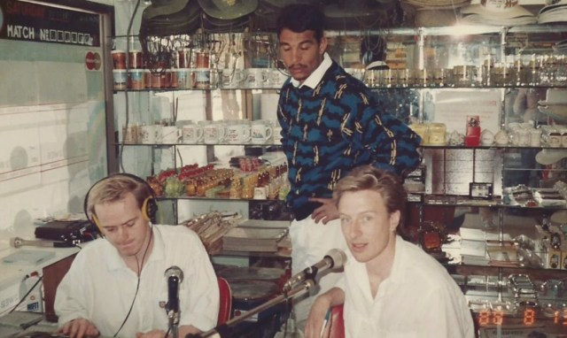 2WEB Radio outside broadcast at Lightning Ridge Newsagency, 1988 with Peter Gibbs and David Quinn