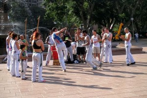 Hyde Park, some dancers in the heat