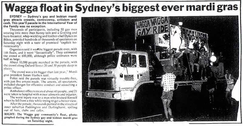 Wagga Wagga float in Sydney's Gay & Lesbian Mardi Gras 1994
