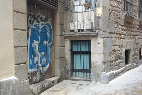 Base of oldest building in Barcelona, a synogogue