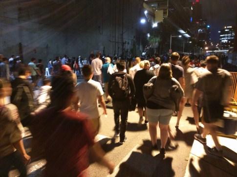 Crowds leaving Barrangaroo