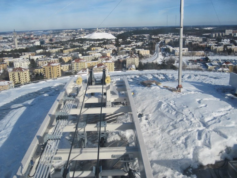 Globen in Stockholm - snow and ice at the very top