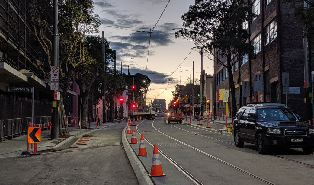 Light rail construction continues in Surry Hills