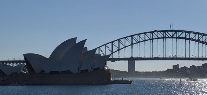 Sydney Opera House and Sydney Harbour Bridge, as viewed from near Lady Macquarie's Chair