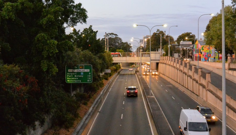 Early morning at the Expressway, South Dowling Street, Surry Hills