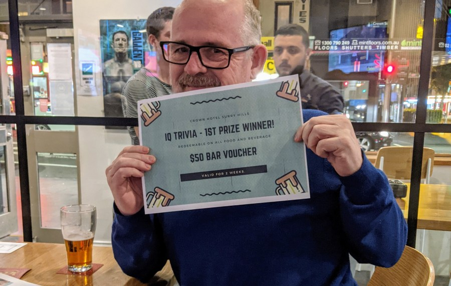 Winning trivia at Crown Hotel