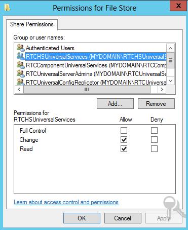 File Store Sharing & NTFS Permission on Lync Server 2013 (4/4)