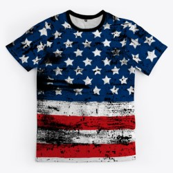American Flag Stressed Grunge Style Black T-Shirt Front