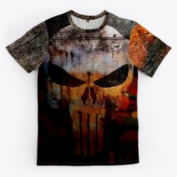The Punisher Grunge Style All Over Tee Black T-Shirt Front