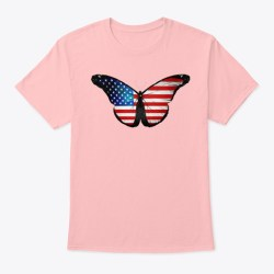 American Flag Butterfly Mercandise Pale Pink Maglietta Front