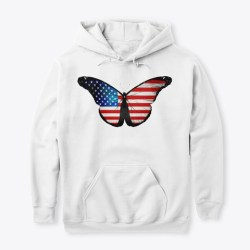 American Flag Butterfly Mercandise White Maglietta Front